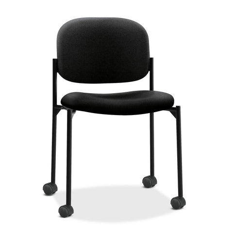 HON VL606 Stacking Guest Chair without Arms, Black Seat/Black Back, Black Base