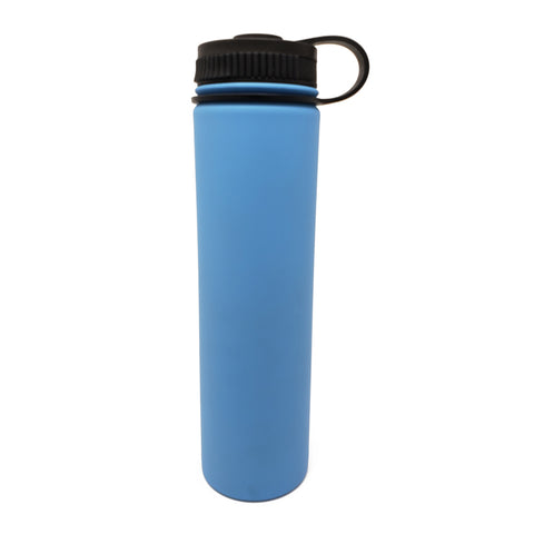 25 oz Double Wall 18/8 Pro-Grade Stainless Vacuum Sealed Big Mouth Water Bottle with Leak-Proof Black Stay-On Cap  | Great For Alkaline Water Storage - Light Blue