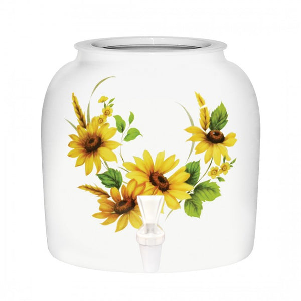 2.5 Gallon Porcelain Water Crock Dispenser With Crock Protector Ring and Faucet - Yellow Daisy