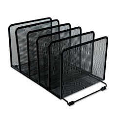 "Universal Deluxe Mesh Stacking Sorter, 5 Sections, Letter to Legal Size Files, 14.63"" x 8.13"" x 7.5"", Black - Black / Letter to Legal"