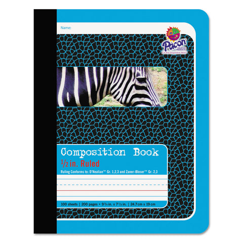 Pacon Composition Book, Medium/College Rule, Blue Cover, 9.75 x 7.5, 100 Sheets