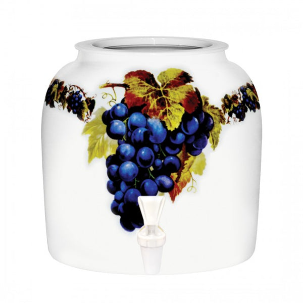2.5 Gallon Porcelain Water Crock Dispenser With Crock Protector Ring and Faucet - Grapes