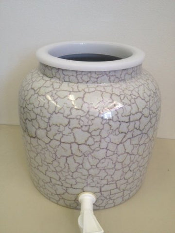 2.5 Gallon Porcelain Water Crock Dispenser With Crock Protector Ring and Faucet - Abstract Granite Pattern