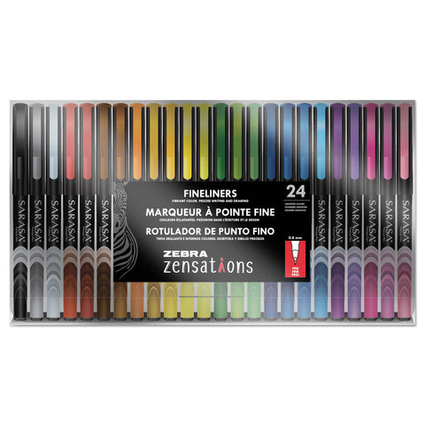Zebra Zensations Fineliner Stick Porous Point Pen, 0.8mm, Assorted Ink/Barrel, 24/Pack
