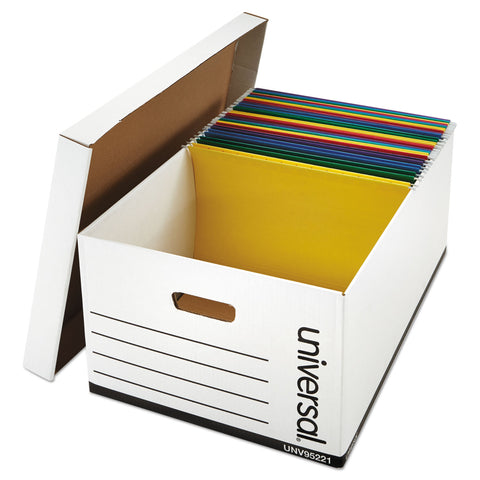 Universal Medium-Duty Easy Assembly Storage Box, Legal Files, White, 12/Carton - White / Legal