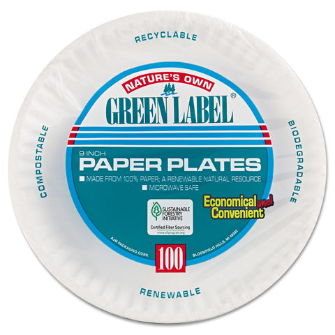 "AJM Packaging Corporation Paper Plates, 9"" Diameter, White, 100/Pack, 12 Packs/Carton"