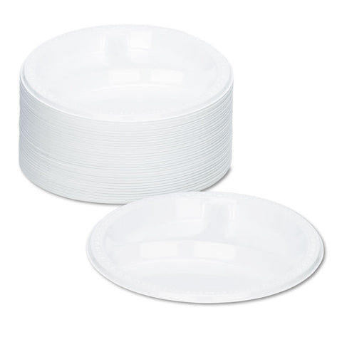 "Tablemate Plastic Dinnerware, Compartment Plates, 9"" dia, White, 125/Pack - White"