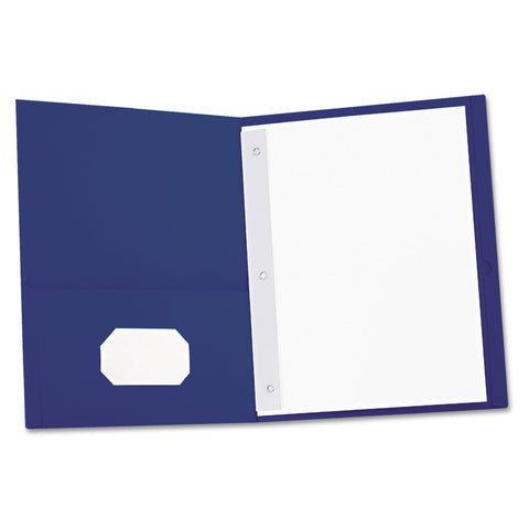 Universal Two-Pocket Portfolios with Tang Fasteners, 11 x 8 1/2, Dark Blue, 25/Box - Dark Blue / 11 x 8 1/2