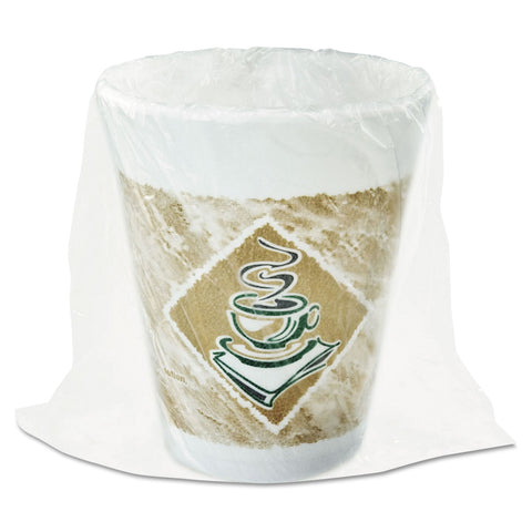 Foam Hot/Cold Cups, 8 oz., Café G Design, White/Brown with Green Accents