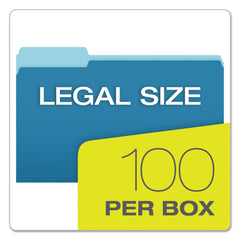 Pendaflex Colored File Folders, 1/3-Cut Tabs, Legal Size, Blue/Light Blue, 100/Box - Blue/Light Blue / Legal