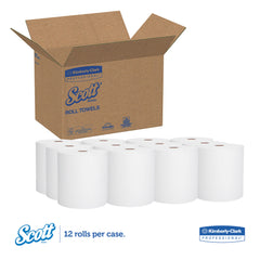 "Scott Essential Hard Roll Towel, 1.5"" Core, 8 x 400ft, White, 12 Rolls/Carton - White"