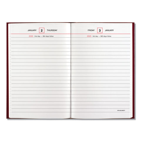 AT-A-GLANCE Standard Diary Recycled Daily Reminder, Red, 6 5/8 x 4 1/8, 2020