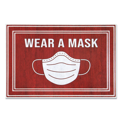 "Apache Mills Message Floor Mats, 24 x 36, Red/White, ""Wear A Mask"""