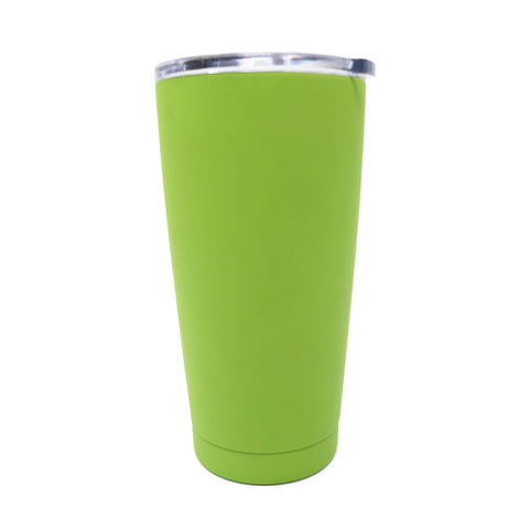 20 oz Double Wall 18/8 Pro-Grade Stainless Vacuum Sealed Tumbler with Clear Leak-Proof Lid with Mouth Opening  | Great For Alkaline Water Storage - Green - Light Green / 20oz