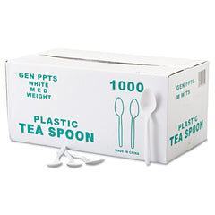 GEN Medium-Weight Cutlery, Teaspoon, White, 100/Box, 10 Boxes/Carton