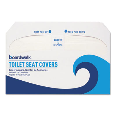 Boardwalk Premium Half-Fold Toilet Seat Covers, 250 Covers/Sleeve, 20 Sleeves/Carton