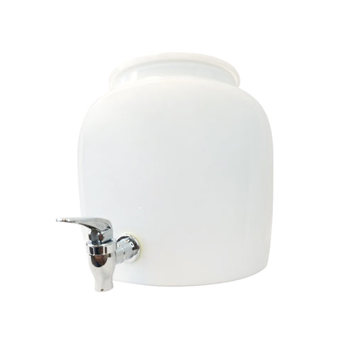 2.5 Gallon Porcelain Water Crock Dispenser With Crock Protector Ring and Faucet - Solid White