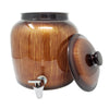 2.5 Gallon Porcelain Crock With Matching Lid, Ring and Faucet- Brown Classic Paint Stroke
