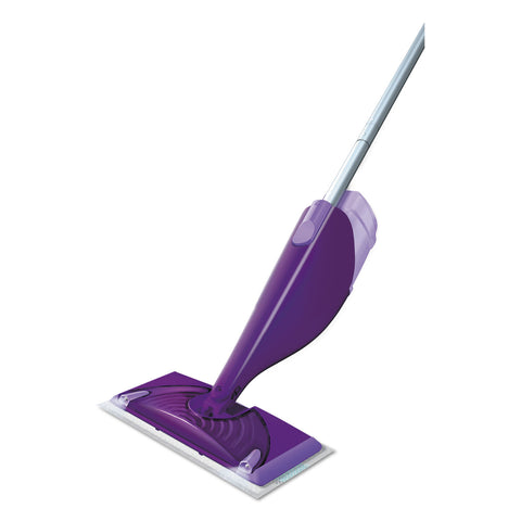 "Swiffer WetJet Mop Starter Kit, 46"" Handle, Silver/Purple, 2/Carton"