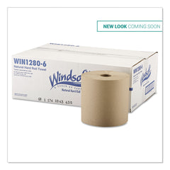 "Windsoft Hardwound Roll Towels, 8"" x 800 ft, Natural, 6 Rolls/Carton - Natural"
