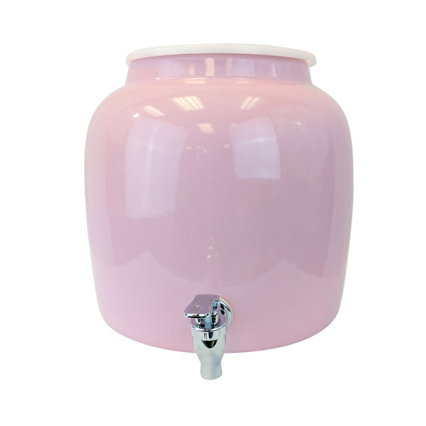 2.5 Gallon Porcelain Water Crock Dispenser With Crock Protector Ring and Faucet - Solid Pink