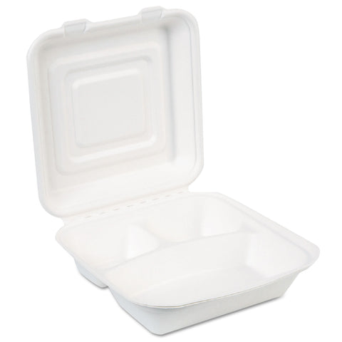 Dixie EcoSmart Molded Fiber Food Containers, 3-Comp, 9 1/32 x 2 5/32, White, 250/CT