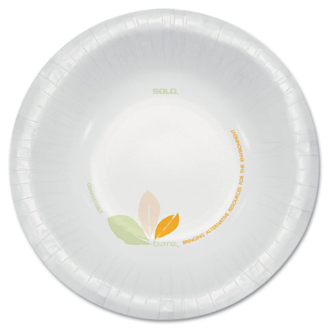 Dart Bare Paper Eco-Forward Dinnerware, 12oz Bowl, Green/Tan, 500/Carton
