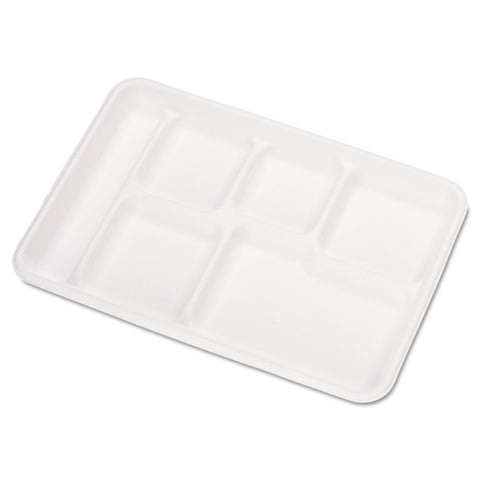Chinet Heavy-Weight Molded Fiber Cafeteria Trays, 6-Comp, 8 1/2 x 12 1/2, 500/Carton - White