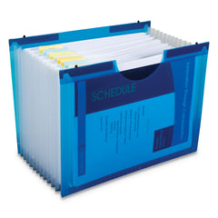 "C-Line Expanding File w/ Hanging Tabs, 1"" Expansion, 13 Sections, Letter Size, Blue"
