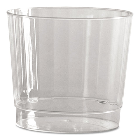WNA Classic Crystal Plastic Tumblers, 9 oz., Clear, Fluted, Rocks Squat, 12/Pack