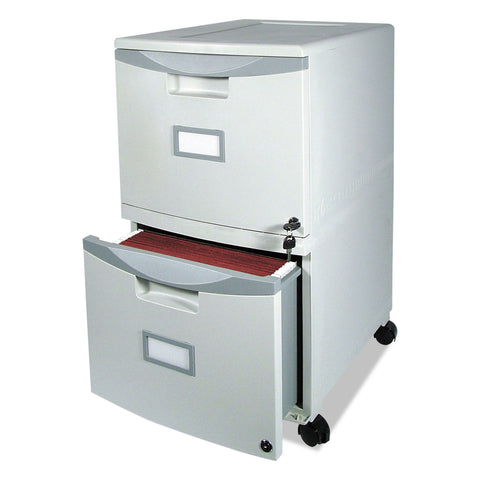 Storex Two-Drawer Mobile Filing Cabinet, 14.75w x 18.25d x 26h, Gray - Gray / Legal; Letter