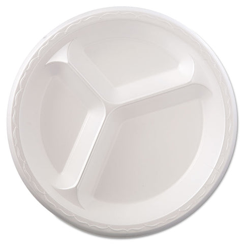 "Elite Laminated Foam Dinnerware, 3-Comp Plate, 10.25""Dia, White, 125/PK, 4 PK/CT"