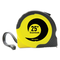 "Boardwalk Easy Grip Tape Measure, 25 ft, Plastic Case, Black and Yellow, 1/16"" Graduations"