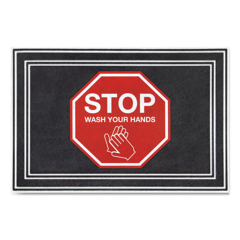 "Apache Mills Message Floor Mats, 24 x 36, Charcoal/Red, ""Stop Wash Your Hands"""