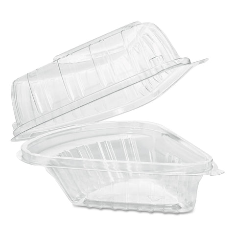 Dart Showtime Clear Hinged Containers, Pie Wedge, 6.67 oz, 6.1 x 5.6 x 3, Clear, 125/Pack, 2 Packs/Carton