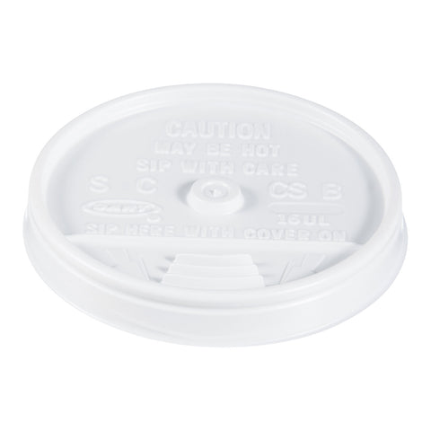 Dart Plastic Lids, for 16oz Hot/Cold Foam Cups, Sip-Thru Lid, White, 1000/Carton