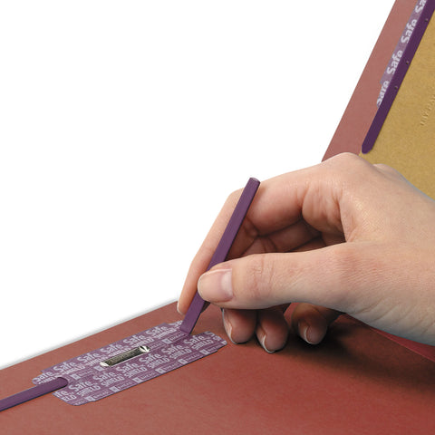 Smead Pressboard Classification Folders with SafeSHIELD Coated Fasteners, 1/3-Cut, 2 Dividers, Letter Size, Red, 10/Box - Red / Letter