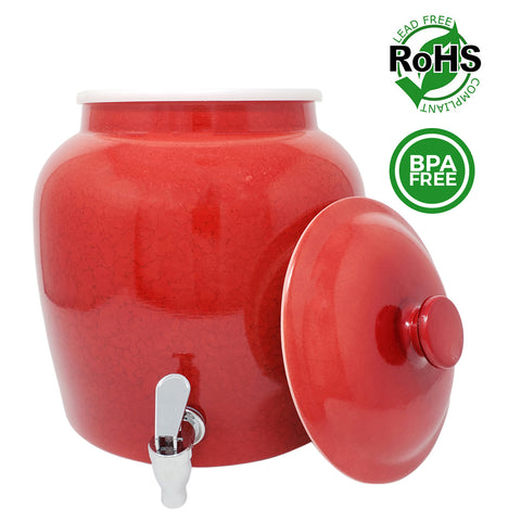 Premium Lead-Free Porcelain Beverage Dispenser With Matching Lid - 2.5 Gallons - Comes with Crock Ring Protector, No-Drip Chrome Painted BPA-Free Plastic Spigot Faucet and Lid - Small Marble Red