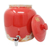 2.5 Gallon Porcelain Crock With Matching Lid - Royal Red and Gold