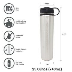 25 oz Double Wall 18/8 Pro-Grade Stainless Vacuum Sealed Big Mouth Water Bottle with Leak-Proof Black Stay-On Cap  | Great For Alkaline Water Storage - Stainless Steel