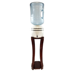 For Your Water Curved Hard Wood Painted Water Crock Dispenser Floor Stand - Special Limited Edition Walnut - 28 Inches / Walnut / Wood