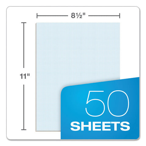 TOPS Quadrille Pads, 10 sq/in Quadrille Rule, 8.5 x 11, White, 50 Sheets