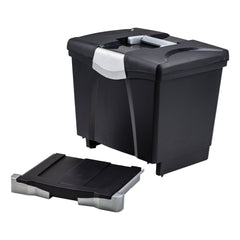 "Storex Portable File Box with Drawer, Letter Files, 14"" x 11.25"" x 14.5"", Black - Black / Letter"