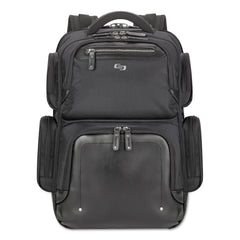 "Solo Lexington BackPack, 16.54"" x 4.33"" x 18.5"", Polyester, Black - Black / 15.6"""