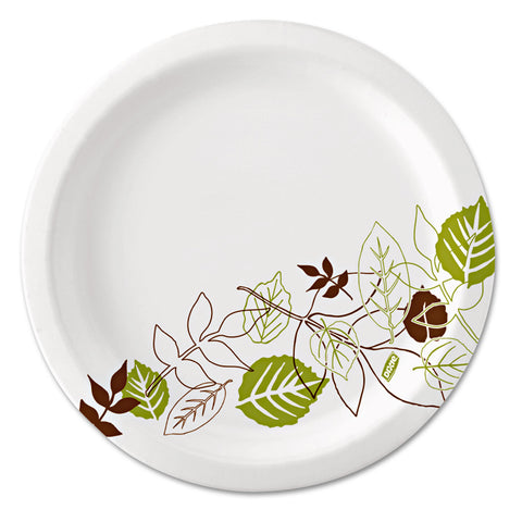 "Dixie Pathways Soak-Proof Shield Mediumweight Paper Plates, 6 7/8"", Grn/Burg, 500/Ct"