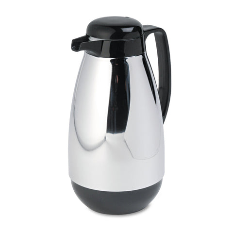 Hormel Vacuum Glass Lined Chrome-Plated Carafe, 1L Capacity, Black Trim