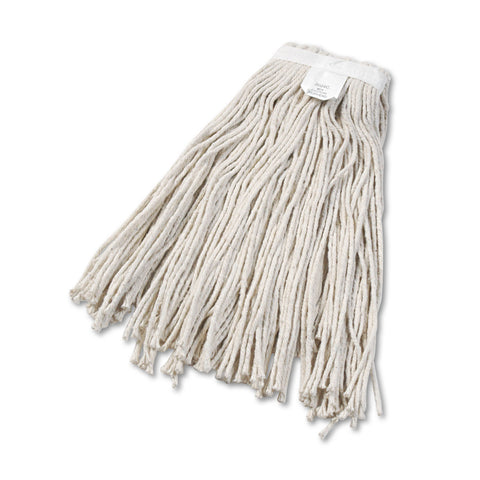 Boardwalk Cut-End Wet Mop Head, Cotton, No. 24, White 12/Carton - White / #24