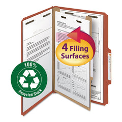 Smead 100% Recycled Pressboard Classification Folders, 1 Divider, Legal Size, Red, 10/Box - Red / Legal