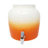 Premium Lead-Free Porcelain Beverage Dispenser With Matching Lid - 2.5 Gallons - Comes with Crock Ring Protector, No-Drip Chrome Painted BPA-Free Plastic Spigot Faucet and Lid - Gradient Orange