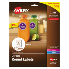 "Avery Durable White ID Labels w/ Sure Feed, 2 1/2"" dia, White, 72/Pk"